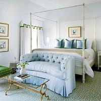 Melanie Turner Interiors - bedrooms - baby blue, walls, white, faux bamboo, canopy, bed, blue, pillows, green, borders, white, green, Greek key, rug, baby blue, tufted, settee, white, valance, drapes, green, ribbon, trim, kelly green, slipper, chair, vintage, white washed, nightstands, Currey & Co Gilbert Rectangular Table,
