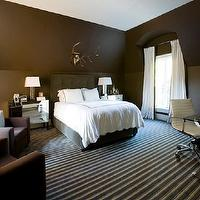 Melanie Turner Interiors - bedrooms - chocolate brown, walls, mink, tufted, headboard, bed, white, drapes, mirrored, chests, nightstands, brown, modern, accent chairs, white, blue, striped, rug, polished nickel, x-base, desk, brown bedroom, chocolate brown bedroom, chocolate brown bedroom ideas,