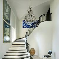 Melanie Turner Interiors - entrances/foyers: iron, handrail, art, crystal chandelier,  Elegant foyer with iron hand rail, crystal chandelier