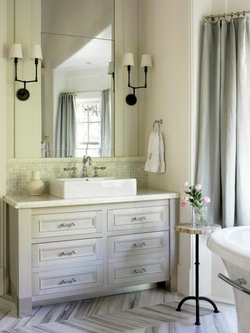 Chevron Tile Floor Transitional Bathroom Benjamin