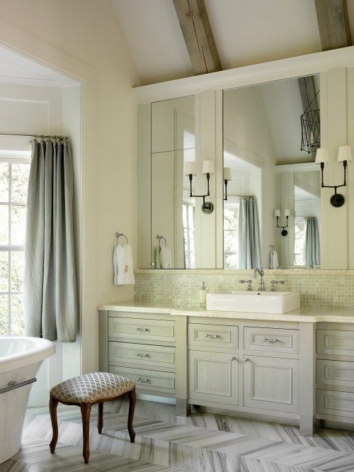 Liz Williams Interiors - bathrooms - Benjamin Moore - White Dove - Walker Zanger Helsinki Collection Chevron Field Floor Tiles - Silver Dusk, Benjamin Moore Moonshine, Thomas O'Brien Ziyi Two Light Sconce, Walker Zanger Vintage Glass in Onyx Luster Tiles, blue, linen, drapes, Walker Zanger, onyx, countertops,