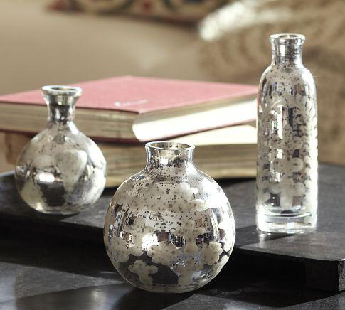 Decor/Accessories - Etched Mini Mercury Glass Vases, Set of 3 | Pottery Barn - etched, mini, mercury, vases