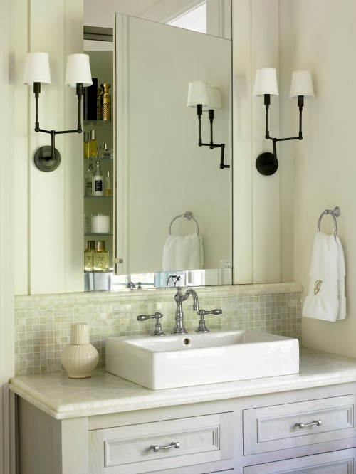 Liz Williams Interiors - bathrooms - Benjamin Moore - White Dove - Benjamin Moore Moonshine, Thomas O&#039;Brien Ziyi Two Light Sconce, gray, washed, bathroom vanity, Walker Zanger, onyx, countertop, monogrammed, towels, white, vessel, sink,