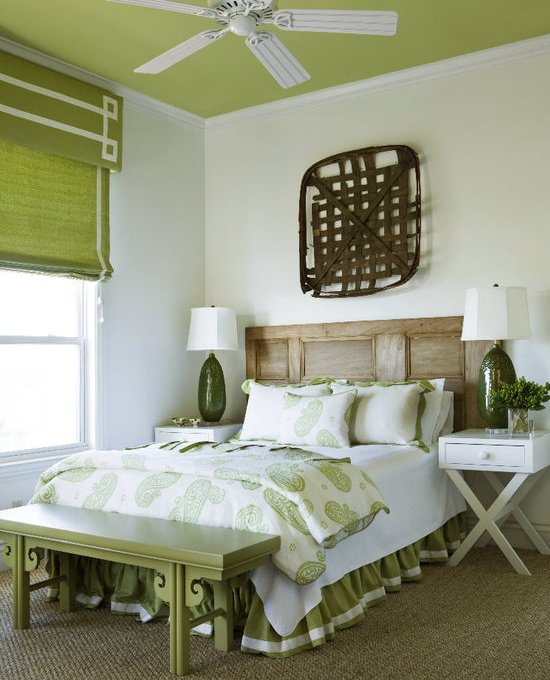 Liz Williams Interiors - bedrooms - Benjamin Moore - Dill Pickle - Double Happiness Long Bench, green, ceiling, green, linen, valance, white, Greek key, pattern, ribbon, trim, green, roman shade, door, headboard, white, green, paisley, duvet, shams, olive, green, lamps, glossy, white, x base, nightstands, green, bed skirt, tobacco, basket, granny smith apple walls, granny smith apple ceiling, granny smith apple paint,