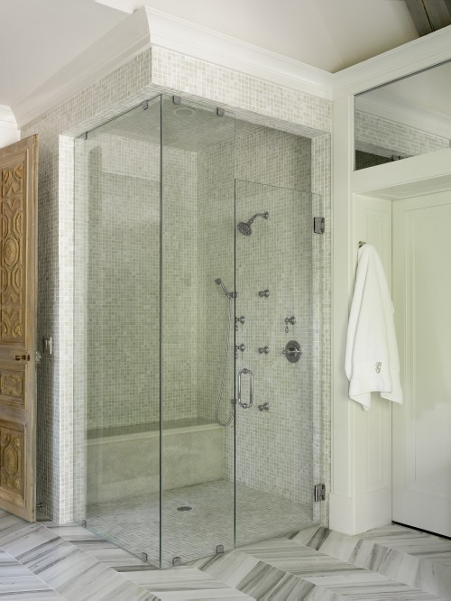 Liz Williams Interiors - bathrooms - Benjamin Moore - White Dove - Walker Zanger Helsinki Collection Chevron Field Floor Tiles - Silver Dusk, Walker Zanger Vintage Glass in Onyx Luster Tiles, shower surround, corner, seamless glass shower, walk in shower design, glass shower design,