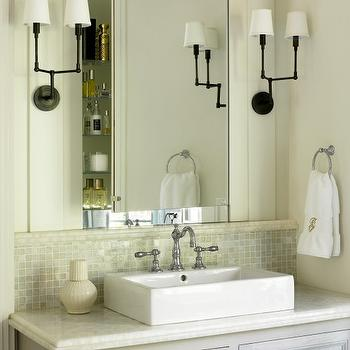 Liz Williams Interiors - bathrooms - gray, washed, bathroom vanity, Walker Zanger, onyx, countertop, monogrammed, towels, white, vessel, sink, onyx countertops, onyx bathroom countertop, onyx vanity countertop, Benjamin Moore Moonshine, Thomas O'Brien Ziyi Two Light Sconce,