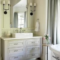 Liz Williams Interiors - bathrooms - blue, linen, drapes, freestanding, tub, Walker Zanger Helsinki Collection Chevron Field Floor Tiles - Silver Dusk, Benjamin Moore Moonshine, Thomas O&#039;Brien Ziyi Two Light Sconce, Walker Zanger Vintage Glass in Onyx Luster Tiles,