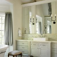 Liz Williams Interiors - bathrooms - blue, linen, drapes, Walker Zanger, onyx, countertops, Walker Zanger Helsinki Collection Chevron Field Floor Tiles - Silver Dusk, Benjamin Moore Moonshine, Thomas O&#039;Brien Ziyi Two Light Sconce, Walker Zanger Vintage Glass in Onyx Luster Tiles,