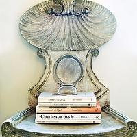 Atlanta Homes & Lifestyles - entrances/foyers - antique chair,  Liz Williams Interiors - Antique chair and books.
