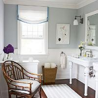 Traditional Home - bathrooms - Benjamin Moore - Sterling - white, beadboard, ceiling, white, chair rail, beadboard, walls, white, roman shade, blue, ribbon, trim, schoolhouse, pendant, cottage bathroom,