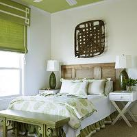 Liz Williams Interiors - bedrooms - green, ceiling, green, linen, valance, white, Greek key, pattern, ribbon, trim, green, roman shade, door, headboard, white, green, paisley, duvet, shams, olive, green, lamps, glossy, white, x base, nightstands, green, bed skirt, tobacco, basket, granny smith apple walls, granny smith apple ceiling, granny smith apple paint, Double Happiness Long Bench,