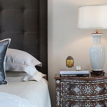 Tiffany Eastman Interiors - bedrooms: charcoal, gray, linen, tufted, wingback, headboard, platinum, gray, silk, pillows, brown, turquoise, blue, bone inlay, chest, nightstand, bone inlay chest, bone inlay nightstand, brown and turquoise blue bone inlay chest, brown and blue bone inlay chest,
