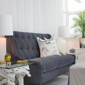 Tiffany Eastman Interiors - living rooms - blue, velvet, tufted, sofa, white, branch, glass-top, end tables, frosted glass, lamps, gray sofa, velvet sofa, tufted sofa, gray velvet sofa, gray tufted sofa, gray velvet tufted sofa,