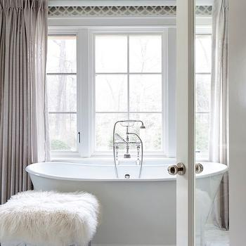 Tiffany Eastman Interiors - bathrooms - freestanding, tub, marble, tiles, floor, polished nickel, ottoman, gray linen curtains, gray linen drapes, bathroom curtains, bathroom drapes, bathroom window panels, gray linen window panels, Kelly Wearstler Imperial Trellis Charcoal Wallpaper,