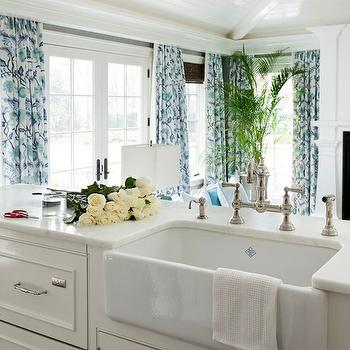Tiffany Eastman Interiors - kitchens: white, beadboard ceiling, French doors, blue, drapes, farmhouse, sink, off-white, kitchen cabinets, marble, countertops, farmhouse sink, kitchen island sink, kitchen island farmhouse sink,