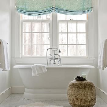 Honey Collins - bathrooms - green, roman shades, freestanding, tub, white, flokati, rug, turquoise roman shades, turquoise blue roman shades,
