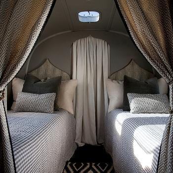 Airstream - bedrooms: trailer, camper, Moroccan, silhouette, twin, headboards, gray, velvet, pillows, white, black, Greek key, pattern, pillows. moroccan headboard, moroccan silhouette headboard,