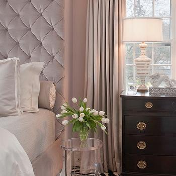 Tiffany Eastman Interiors - bedrooms: gray, linen, drapes, blush pink, walls, blush pink, velvet, tall, tufted, headboard, bed, blush pink, duvet, shams, acrylic, accent table, zebra, rug, glossy, black, chest, velvet tufted headboard, velvet headboard, pink velvet headboard, pink tufted headboard, pink velvet tufted headboard, floor to ceiling headboard, pink headboard, pink tall headboard, velvet headboard, pink velvet headboard, pink tall headboard, lucite nightstand, lucite table,