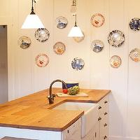 Kruger Design Studio - kitchens - Kitchen, White Cottage, Nautical Seaside Plates, Reclaimed Countertop, decorative plates, wall decorative plates, decorative plates for wall, nautical decorative plates, nautical decorative plates for wall, nautical plates, decorative plates for kitchen wall, decorative wall plates, nautical decorative wall plates, reclaimed wood countertops, salvaged wood countertops, wood countertops, distressed wood countertops, reclaimed wood kitchen island,