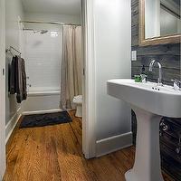 Kruger Design Studio - bathrooms - Benjamin Moore - Stonington Gray - beetle kill, pine oak, pedestal sink, gray walls, plank walls, plank accent wall, plank backsplash, rustic plank backsplash, bathroom plank walls, bathroom plank backsplash,