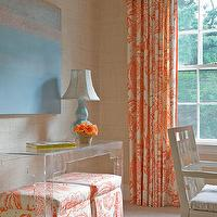 Honey Collins - dens/libraries/offices - tan, grasscloth, wallpaper, acrylic, console, table, canvas, art, baby blue, gourd, lamp, white, orange, skirted, ottomans, drapes, orange and white drapes, orange and white curtains, orange and white window panels,