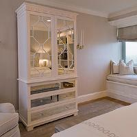 Tiffany Eastman Interiors - bedrooms - gray, textured, walls, white, mirrored, cabinet, gray, damask, roman shade, white, cushion, gray, piping, mirrored armoire, white mirrored armoire,