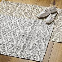 Rugs - Cable Knit Printed Floor Mat - Frost Gray | west elm - cable, knit, printed, floor mat