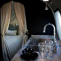 Airstream - kitchens - black, walls, black, kitchen cabinets,  Glamping! Trailer/camper with black walls paint color and black kitchen cabinets.
