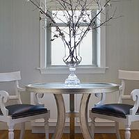 Tiffany Eastman Interiors - dining rooms - gray, textured, walls, silver, Greek key, table, white, chairs, black, leather, cushions, greek key table, greek key dining table, round greek key table, silver greek key table, silver greek key dining table,