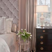Tiffany Eastman Interiors - bedrooms - gray, linen, drapes, blush pink, walls, blush pink, velvet, tall, tufted, headboard, bed, blush pink, duvet, shams, acrylic, accent table, zebra, rug, glossy, black, chest, velvet tufted headboard, velvet headboard, pink velvet headboard, pink tufted headboard, pink velvet tufted headboard, floor to ceiling headboard, pink headboard, pink tall headboard, velvet headboard, pink velvet headboard, pink tall headboard, lucite nightstand, lucite table,