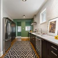 Kruger Design Studio - kitchens - Benjamin Moore - Willow Grove - white tile, contemporary black cabinets, ethnic rug, green paint, white hex tile, white hex tile backsplash, hex tile kitchen,