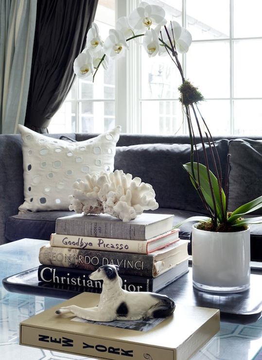 Tiffany Eastman Interiors - living rooms - Sheesha Pillow, charcoal, gray, sofa, ivory, mirrored, pillows, orchid, coffee table books, styled coffee table,