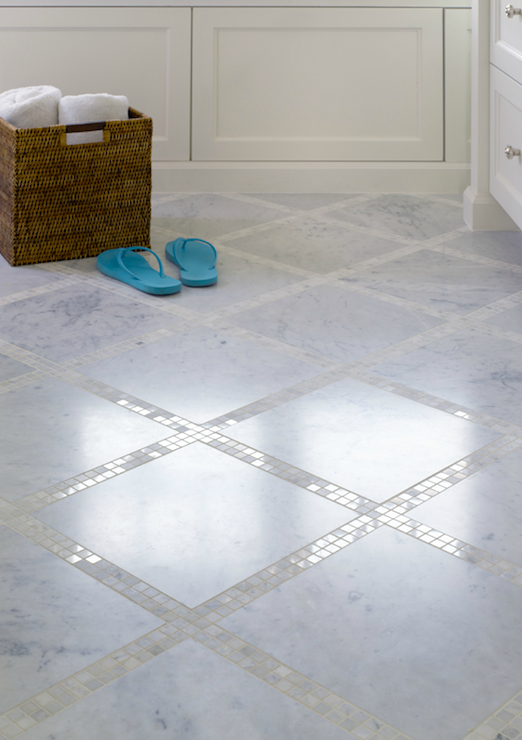 Awesome Bathroom Floor Composed Of Marble Basketweave Tiles And Subway Tile