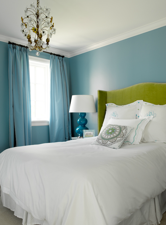 blue and green bedroom walls walls blue drapes green