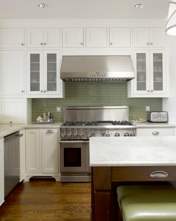 Green Kitchen Backsplash Contemporary Kitchen