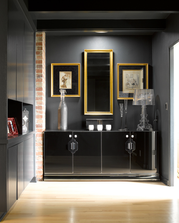 Black Lacquer Cabinet Contemporary Entrance Foyer