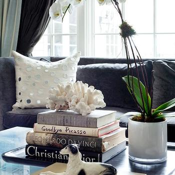 Tiffany Eastman Interiors - living rooms - charcoal, gray, sofa, ivory, mirrored, pillows, orchid, coffee table books, styled coffee table, Sheesha Pillow,