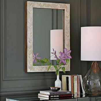 Mirrors - Parsons Wall Mirror - Bone Inlay | west elm - parsons, bone, inlay, wall, mirror