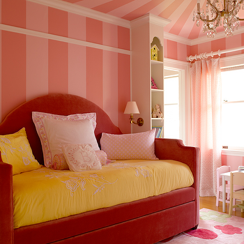 Graciela Rutkowski Interiors - girl's rooms - red, velvet, camelback, daybed, yellow, bedding, pink, tone-on-tone, painted, walls, ceiling, pink, green, rug, daybed, velvet daybed, red daybed, red velvet daybed, camelback daybed, red camelback daybed, velvet camelback daybed, red velvet camelback daybed,