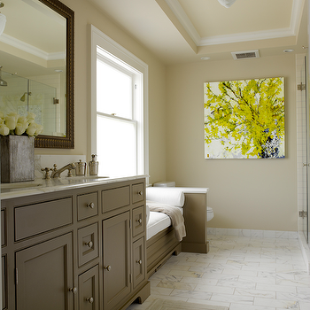 Graciela Rutkowski Interiors - bathrooms - tray ceiling, camel, walls, ceiling, marble, tiles, floor, taupe, bathroom, cabinet, marble, top, built-in, bench, taupe cabinets, taupe painted cabinets, taupe paint, taupe paint colors, taupe paint color, taupe walls, taupe bathrooms, taupe cabinets, gray and yellow bathroom,