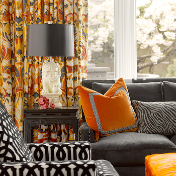 Graciela Rutkowski Interiors - living rooms - orange, gray, drapes, white, foo dog, lamps, black, Chinese, altar, end table, charcoal gray, velvet, sofa, French, brass, tacks, Kelly Wearstler, imperial trellis, accent chair, orange, ottoman, orange curtains, orange drapes, orange window panels, orange and gray curtains, orange and gray drapes, orange and gray window panels,