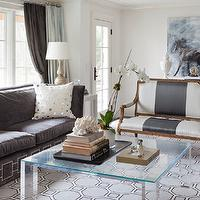 Tiffany Eastman Interiors - living rooms - acrylic, coffee table, blue, honeycomb, rug, gray, striped, settee, charcoal, gray, sofa, silver, nailhead trim, acrylic coffee table, acrylic cocktail table, square acrylic coffee table, Sheesha Pillow,