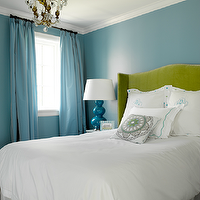 Graciela Rutkowski Interiors - bedrooms - blue, walls, blue, drapes, green, velvet, camelback, wingback, headboard, white, monogrammed, duvet, shams, blue, stitching, Robert Abbey, triple, gourd, lamp, blue, wingback upholstered headboard, wingback headboard, velvet wingback headboard, green wingback upholstered headboard, green wingback headboard, green velvet wingback headboard, turquoise lamp, turquoise table lamp, turquoise blue lamp, gourd lamp, turquoise gourd lamp, turquoise blue lamp, triple gourd lamp, turquoise triple gourd lamp, turquoise drapes, turquoise curtains, turquoise blue drapes, turquoise blue drapes,