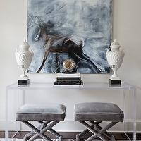 Tiffany Eastman Interiors - entrances/foyers - canvas, art, acrylic, console, table, gray, velvet, ottomans, French, brass tacks, blue, honeycomb, rug, lucite console table,