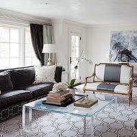 Tiffany Eastman Interiors - living rooms - blue, honeycomb, rug, charcoal, gray, velvet, sofa, nailhead trim, white, mirrored, pillows, acrylic, coffee table, gray, stripe, French, settee, gray velvet sofa, dark gray velvet sofa, dark gray velvet couch, gray velvet couch, Sheesha Pillow,
