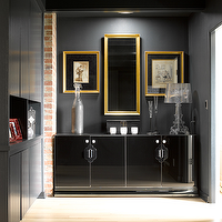Graciela Rutkowski Interiors - entrances/foyers - black, walls, glossy, black, box beams, gold, frames, glossy, black, lacquer, cabinet,  Chic