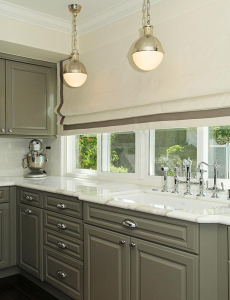 Jenn Feldman Designs - kitchens - Visual Comforts Thomas O'Brien Hicks Pendant, white, roman shade, gray, ribbon, trim, gray, kitchen cabinets, marble, countertops, polished nickel, bridge, faucet, gray kitchen cabinets, gray kitchens, gray cabinets,