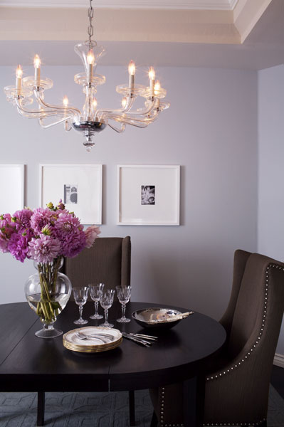 Jenn Feldman Designs - dining rooms - lilac, walls, tray ceiling, black, white, art, white, gallery, frames, espresso, dining table, chocolate brown, dining table, silver, nailhead trim, purple and brown dining room,