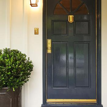 Jenn Feldman Designs - entrances/foyers - glossy blue door, navy blue door, blue front door, navy blue front door,  Glossy navy blue door