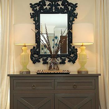 Jenn Feldman Designs - living rooms - butter, yellow, walls, black, ornate, mirror, yellow, lamps, gray, chest, gray and yellow living room,